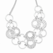Sterling Silver Textured 2 Strand Circles Necklace with 5.1cm EXT