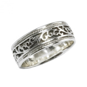 Wedding Band Ring Antique Style Sterling Silver 6 - 13