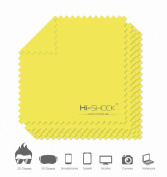 5x Hi-SHOCK® Superfine Fibre Cloths Microfibre Wipe-Camera Lens / 3D Glasses Cleaner [colour yellow]