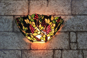 Gweat 30cm Vintage Pastoral Stained Glass Tiffany Grape Wall Lamp Hallway Wall Sconce Lamp Fixture