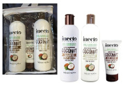 Inecto Naturals COCONUT Hair GIFT SET Shampoo, Conditioner 500ml each & Serum 50ml - 90% Natural & Not Tested on Animals.Vegan friendly.