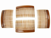 4 Pack 7cm Tort Brown Hair Side Combs Slides Grips by Glitz4Girlz