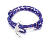 VIRGINSTONE Silver Anchor Bracelets on Colourful Nylon Ropes
