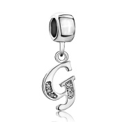 Pugster Silver Plated Letter Initial A-z Dangle Alphabet Crystal Bead Fits Pandora Charms Bracelet