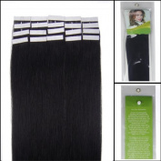 41cm Tape-In Real Human Hair Extensions Straight Colour Jet Black 30g 20pcs Beauty Hair Style by Pretty Fashio n INC