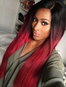 Tsnomore Silky Long Black to Red Ombre Synthetic Wig