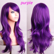 S-noilite UK Long Layer Full Head Wig Cosplay Party Fancy Daily Dress Adjustable Synthetic Purple