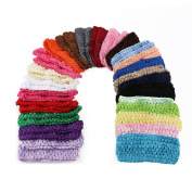 Tinksky Baby Girls Headbands Elastic Crochet Hairbands Hair Bands Head Wear in 25 Different Colours Pack of 50