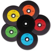 25 Vinyl CD-R NMC Multicoloured Carbon Dye Complete Black Back CD Rohling 700MB