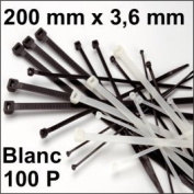 100 Cable Tie Type RILSAN/Colson White 200 x 3.6 mm
