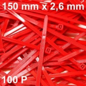 100 Cable Tie 150 x 2.6 mm type RILSAN/Colson Red