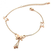AMDXD Jewellery Gold Plated Women's Charm Anklet Rose Gold Hollow Butterfly Shape 21.5CM