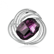 Aooaz Jewellery 18K Gold Plated Amethyst Inlaid Hollow Round Design Brooch Pin for Women Silver Purple