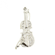 Mytoptrendz® Silver Plated Clear Crystal Studded Violin Brooch Pin