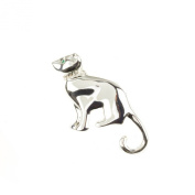 Mytoptrendz® Silver Plated Cat Brooch With Green Eyes Clear Crystal Neck Collar Detail