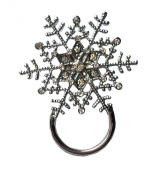 NEW Rhinestone Christmas Snowflake Glasses / Spectacle Hanger Brooch Pin Holder