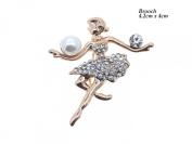 Elegant Rose Gold Coloured Crystal and Pearl Dancer Brooch