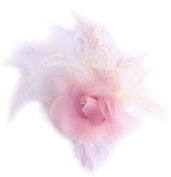 Brooch with Flower Design Light Pink organza tulle