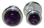 Sterling SILVER Amethyst Double sided Cufflinks, Round Gemstone Cufflink, NEW Boxed Mens Gifts