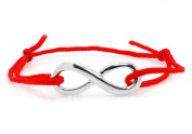 Sterling Silver Infinity Red Rope Adjustable (13cm - 25cm ) Bracelet