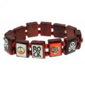 Fashion saint bracelet style wooden ROCK and SKULL design - ideal for children