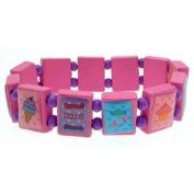 Pink saint bracelet style wooden fashion bracelet purple spacer beads