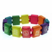 Multicoloured saint bracelet style wooden PEACE design - ideal for children