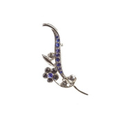 Mytoptrendz® Rhodium Plated Flower Leaf Brooch With Blue And Black Crystals