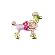 Mytoptrendz® Gold Plated Colourful Crystal Poodle Dog Brooch