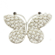 Mytoptrendz® Butterfly Brooch Imitation Pearl And Crystal Butterfly Brooch Pin