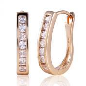 GULICX Women's Jewellery Gold Electroplated White Sparkle Huggie Hoop Earrings Cubic Zirconia