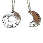 GOT. 2 Piece Khaleesi Silver Tone Moon and Star Necklaces