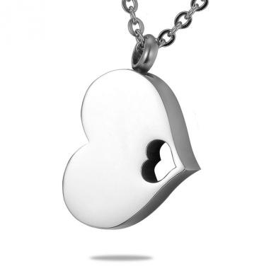 HooAMI Hollow Heart Detchable Heart Cremation Pendant Necklace 2.9cmx1.8cm