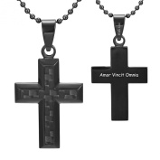 Willis Judd Men's Black Stainless Steel Cross Pendant Engraved Latin Love Amor Vincit Omnia with Black Carbon Fibre and Necklace with Gift Pouch