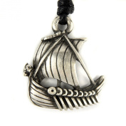 Mystical & Magical Pewter Viking Longship Dragon Boat Pendant