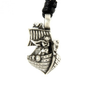 Mystical & Magical Small Pewter Viking Longship Dragon Boat Pewter Pendant