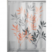 InterDesign Leaves Fabric Shower Curtain, 183 x 183 cm - Grey/Coral