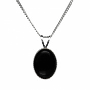 10x8mm Oval Genuine Black Onyx Cabochon 925 Sterling Silver Pendant + 45 Cms Curb Chain / Necklace