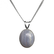 10x8mm Oval Genuine Blue Lace Agate Cabochon 925 Sterling Silver Pendant + 40 Cms Curb Chain / Necklace