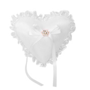 Heart Shape Wedding Ring Cushion Bearer Pillow with Lace Ruffle on Edge White 20 x 20cm