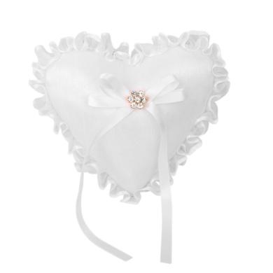 Heart Shape Wedding Ring Cushion Bearer Pillow with Lace Ruffle on Edge White 20 x 20cm