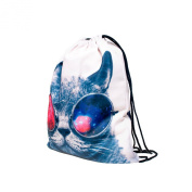 Travel Sports Polyester 3D Digital Galaxy Anmimals Print,38cm Drawstring Style School Gym Backpack