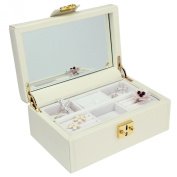 Dulwich Designs Pretty Medium Cream Leather Ladies Jewellery Box