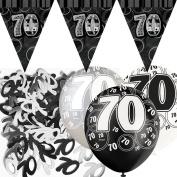 Black Silver Glitz 70th Birthday Flag Banner Party Decoration Pack Kit Set