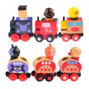 Finer Shop Set of 6 Wooden Magnetic Bread-shape Little Train Model of Educational Toys for Baby Kids