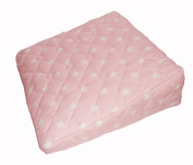 Pregnancy Maternity Large Comfy Back & Bump Support WEDGE Cushion - PINK WITH WHITE STARS - WITH QUILTED COVER - 30x30cm