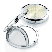 Shiny rhodium colour compact mirror with gold colour design