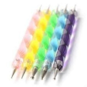Set of 5 Multi Coloured Swirl Double Ended Nail Art Dotting/Marbleizing tools + 100 Lint Free Nail Wipes by Boolavard® TM