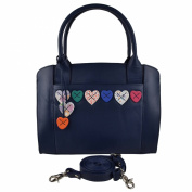 Ladies LEATHER Handbag Grab BAG by MALA Lucy Collection Shoulder Hearts