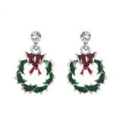 Cute Green & Red Wreath Stud Christmas Earrings for Xmas Gift E665